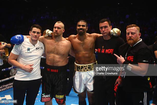 David Haye of England is congratulated by Mark De Mori of Australia during their International heavyweight contest at The O2 Arena on January 16 2016...