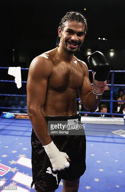David Haye of England poses for the camera during a Cruiserweight bout between David Haye of England and Saber Zairi of France held on January 24...