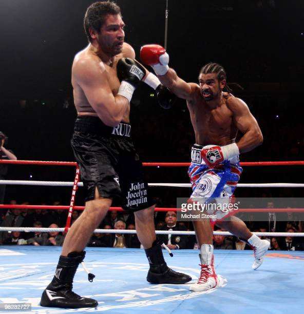 David Haye of England punches at John Ruiz of USA during the World Heavyweight Bout at the MEN Arena on April 3 2010 in Manchester England