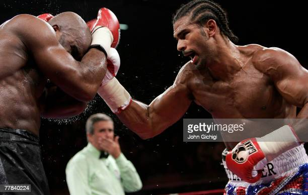 David Haye of Great Britain lands a punch on Jean Marc Mormeck of France during the WBA and WBC Cruiserweight title fight at the Marcel Cerdan Arena...