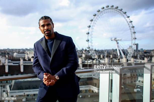 David Haye poses for a photo on a balcony overlooking London during the Joe Joyce v Rudolf Jozic weigh in at Park Plaza Hotel on February 15 2018 in...