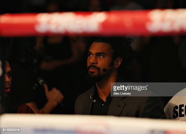 David Haye sits ringside for the WBC Cruiserweight Championship match during Boxing at Echo Arena on October 15 2016 in Liverpool England