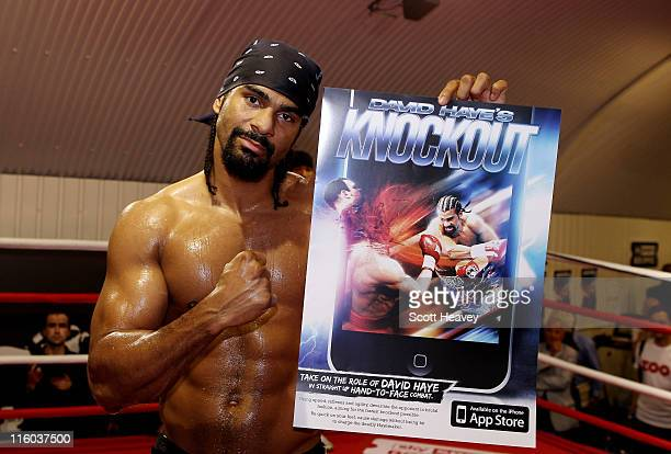 David Haye works out during a media training day at his Hayemaker Gym in London on June 14 2011 in London England