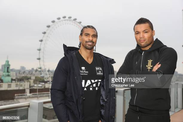 David Hayemaker Haye and Joe Juggernaut Joyce pose for the camera during the Hayemaker Ringstar Fight Night Weigh In at the Park Plaza Westminster on...