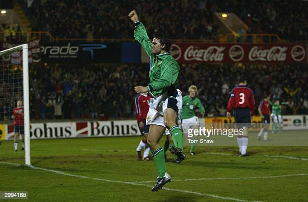 David Healey of Northern Ireland celebrates scoring Irelands first goal in over 1200 minutes of football during the International Friendly match...