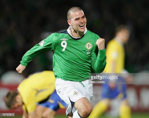 David Healy of Northern Ireland celebrates after scoring his goal during the Euro2008 Group F Qualifying match between Northern Ireland and Sweden at...