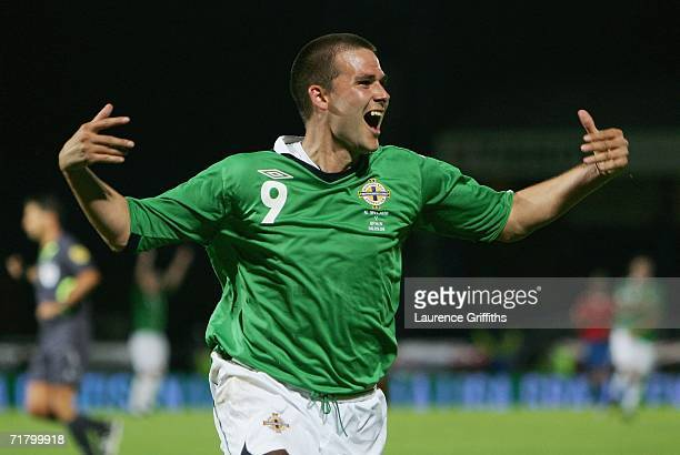 David Healy of Northern Ireland celebrates his third goal during the Euro 2008 Qualifying Group F Match between Northern Ireland and Spain at Windsor...