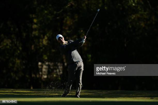 David Hearn of Canada plays his second shot on the on the 17th hole during the third round of the Sanderson Farms Championship at the Country Club of...