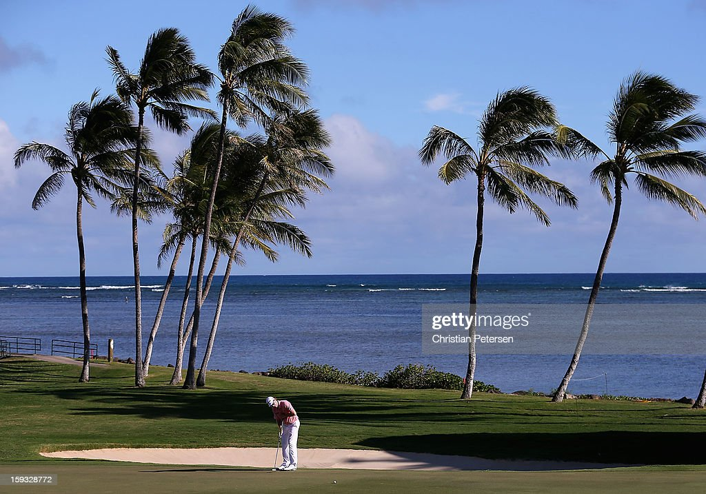 David Hearn of Canada putts for par on the 17th hole green during the second round of the Sony Open in Hawaii at Waialae Country Club on January 11, 2013 in Honolulu, Hawaii.