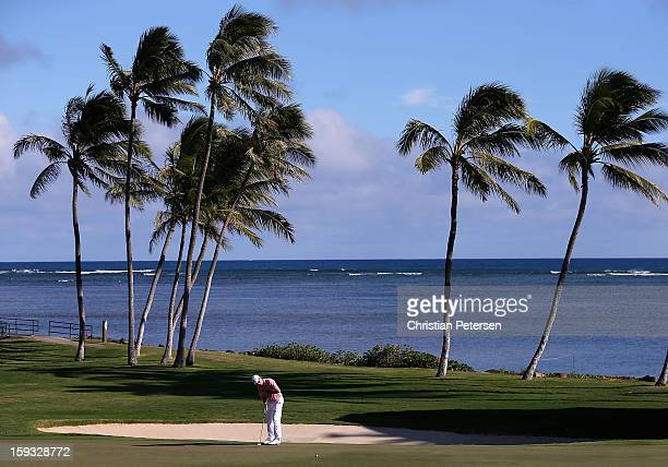 David Hearn of Canada putts for par on the 17th hole green during the second round of the Sony Open in Hawaii at Waialae Country Club on January 11...