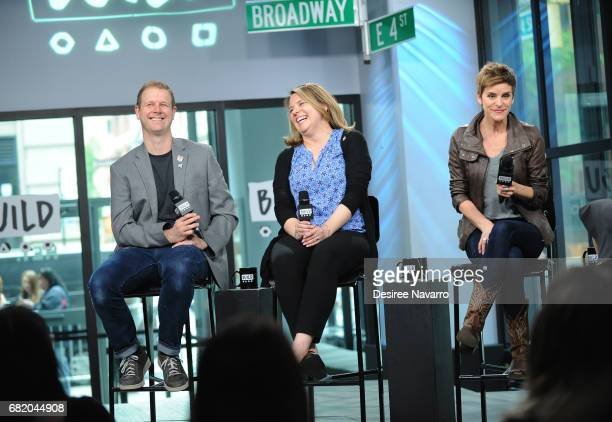 David Hein playwright Irene Carl Sankoff and actress Jenn Colella attend Build to discuss their show 'Come From Away' at Build Studio on May 11 2017...