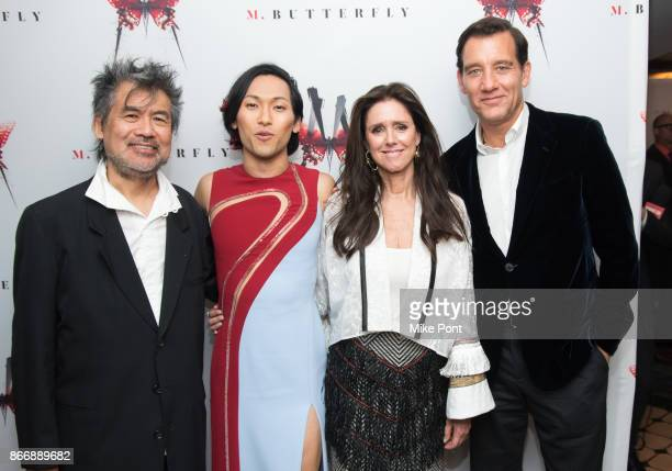 David Henry Hwang Jin Ha Julie Taymor and Clive Owen attend the 'M Butterfly' Broadway opening night after party at Redeye Grill on October 26 2017...