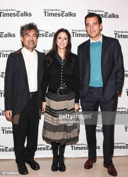 David Henry Hwang Julie Taymor and Clive Owen attend the Times Talk to discuss 'M Butterfly' at TheTimesCenter on November 6 2017 in New York City