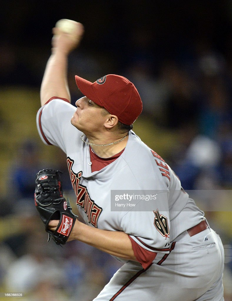 David Hernandez #30 of the Arizona Diamondbacks pitches during the eighth inning against the Los Angeles Dodgers at Dodger Stadium on May 7, 2013 in Los Angeles, California.
