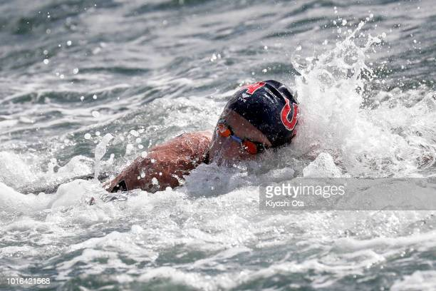 David Heron of the United States competes in the Men's 10km race during the Open Water Swimming of the Pan Pacific Swimming Championships at Hojo...