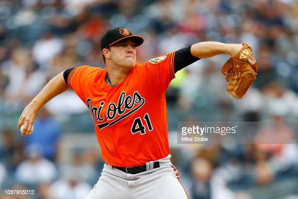 David Hess of the Baltimore Orioles reacts in the second inning against the New York Yankees at Yankee Stadium on September 22 2018 in the Bronx...