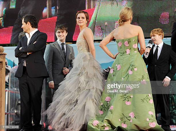David Heyman Daniel Radcliffe Emma Watson JK Rowling and Rupert Grint attend the World Premiere of 'Harry Potter And The Deathly Hallows Part 2' in...