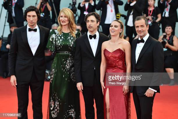 David Heyman Scarlett Johansson Director Noah Baumbach Laura Dern and Adam Driver walk the red carpet ahead of the Marriage Story screening during...
