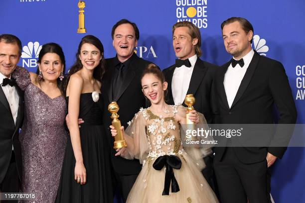 David Heyman Shannon McIntosh Margaret Qualley Quentin Tarantino Brad Pitt Julia Butters and Leonardo DiCaprio poses in the press room during the...