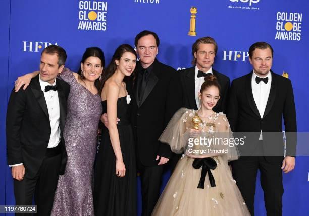 David Heyman Shannon McIntosh Margaret Qualley Quentin Tarantino Brad Pitt Julia Butters and Leonardo DiCaprio pose in the press room during the 77th...