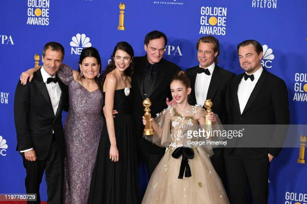 David Heyman Shannon McIntosh Margaret Qualley Quentin Tarantino Brad Pitt Julia Butters and Leonardo DiCaprio pose in the press room during the 77th...