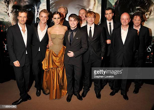 David Heyman Tom Felton Emma Watson Alan Rickman Daniel Radcliffe David Yates Rupert Grint Matthew Lewis David Barron and Chris Columbus attend the...