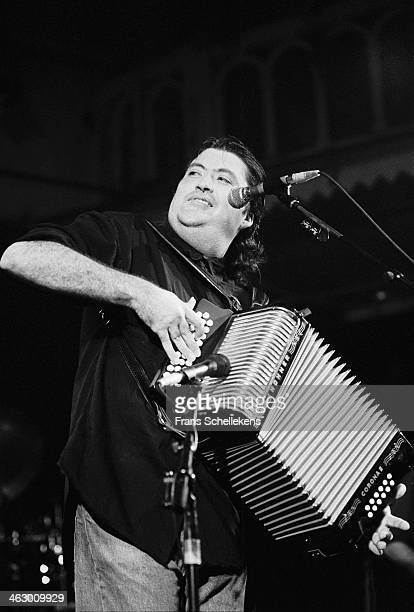 David Hidalgo, accordion, performs with Los Lobos at the Paradiso in Amsterdam, the Netherlands on 20th September 1990.