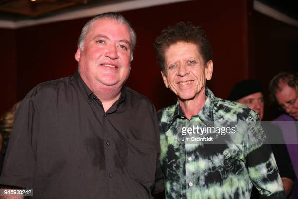David Hidalgo and Blondie Chaplin pose for a portrait at the Rick Rosas memorial at The Joint in Los Angeles, California on January 10, 2015.
