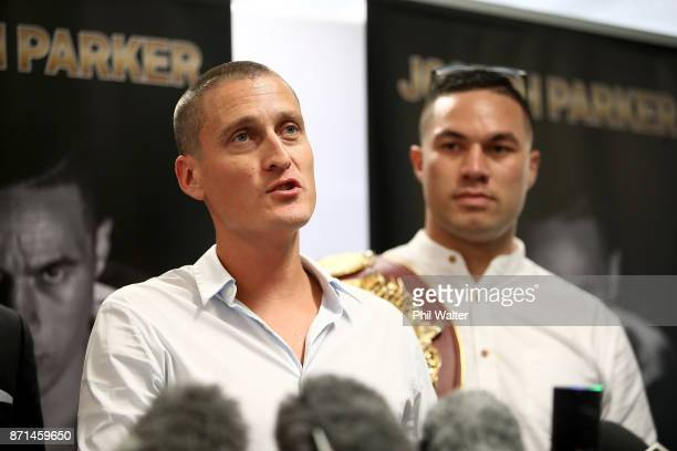 David Higgins of Duco Events speaks alongside Joseph Parker during a press conference at Duco Events Office on November 8 2017 in Auckland New Zealand