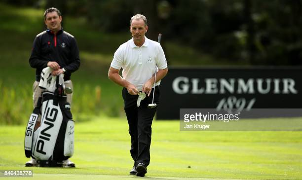 David Higgins of the Great Britain and Ireland PGA Cup team in action during a practise round ahead of the 28th PGA Cup at Foxhills Golf Course on...