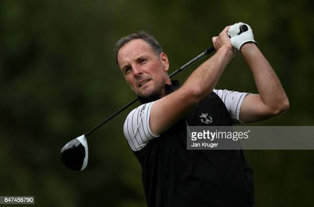 David Higgins of the Great Britain and Ireland PGA Cup team in action during the afternoon foursomes matches on day 1 of the 28th PGA Cup at Foxhills...