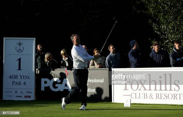 David Higgins of the Great Britain and Ireland PGA Cup team tees off during the morning fouball matches on day 1 of the 28th PGA Cup at Foxhills Golf...