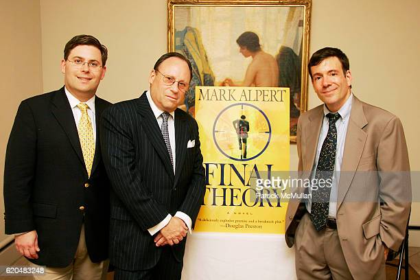 David Hill Jim Hill and Mark Alpert attend The Celebration of MARK ALPERT'S Debut Thriller FINAL THEORY at The BerryHill Gallery on June 10 2008 in...