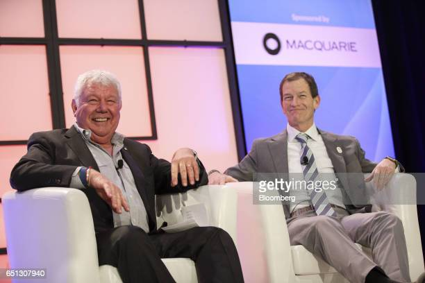 David Hill president of Hilly Inc and former president of Fox Sports left laughs with Gene Sykes chief executive officer of Olympics LA 2024 during...