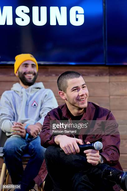 "David Hinojosa and Nick Jonas discusses ""Goat"" at the Deadlinecom panel in the Samsung Studio during the Sundance Festival 2016 on January 23 2016 in..."