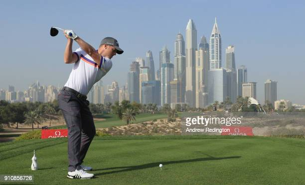 David Hiorsey of England hits his teeshot on the eighth hole during the completion of the second round of the Omega Dubai Desert Classic at Emirates...