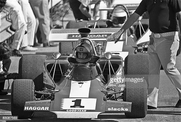 David Hobbs in his Lola T300 on pit lane before Heat One of the Formula 5000 Road America Grand Prix held on July 16 1972 at Elkhart Lake Wisconsin