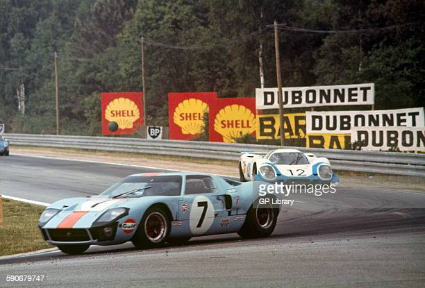 7 David Hobbs Mike Hailwood Gulf JW team Ford GT40 finished 3rd 12 is Porsche 917 Langheck Longtail driven by Vic Elford and Richard Attwood Le Mans...