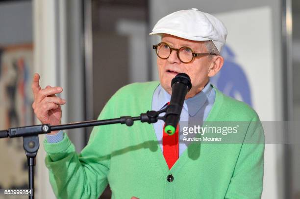 David Hockney addresses the press as he donates his painting 'The Arrival Of Spring in Woldgate East Yorkshire in 2011' to the museum at Centre...