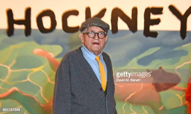 David Hockney attends a private view of the David Hockney retrospective at the Tate Britain on February 7 2017 in London England