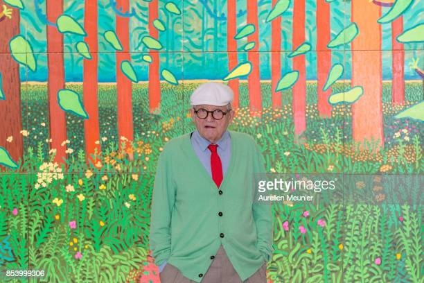 David Hockney poses in front of his painting 'The Arrival Of Spring in Woldgate East Yorkshire in 2011' which he offered to the museum at Centre...
