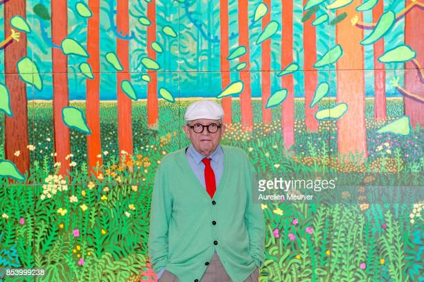 David Hockney poses in front of the painting 'The Arrival of Spring in Woldgate East Yorkshire in 2011' which he has donated to the museum at Centre...