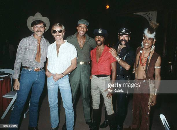 David Hodo Alex Briley Glenn Hughes Ray Simpson Randy Jones and Philip Rose of the second lineup of American disco group Village People