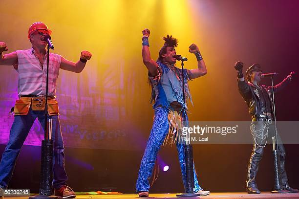 David Hodo Felipe Rose and Eric Anzalone of the Village People perform at the Atlantic Pavilion November 18 2005 in Lisbon Portugal