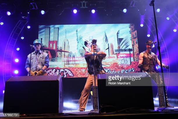David Hodo Felipe Rose and Eric Anzalone of Village People perform during day 4 of the Super Bowl Village on January 30 2012 in Indianapolis Indiana