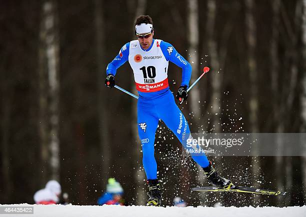 David Hofer of Italy competes during the Men's 15km CrossCountry during the FIS Nordic World Ski Championships at the Lugnet venue on February 25...