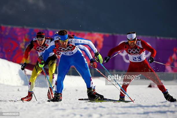 David Hofer of Italy competes in Finals of the Men's Sprint Free during day four of the Sochi 2014 Winter Olympics at Laura Crosscountry Ski Biathlon...