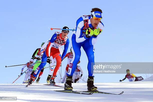 David Hofer of Italy competes in the Men's 50 km Mass Start Free during day 16 of the Sochi 2014 Winter Olympics at Laura Crosscountry Ski Biathlon...