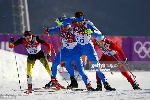 David Hofer of Italy leads the pack in Finals of the Men's Sprint Free during day four of the Sochi 2014 Winter Olympics at Laura Crosscountry Ski...