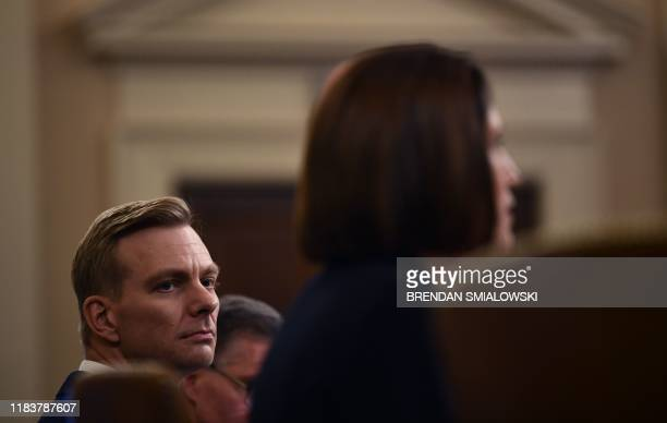 David Holmes a State Department official stationed at the US Embassy in Ukraine watches as Fiona Hill the former top Russia expert on the National...